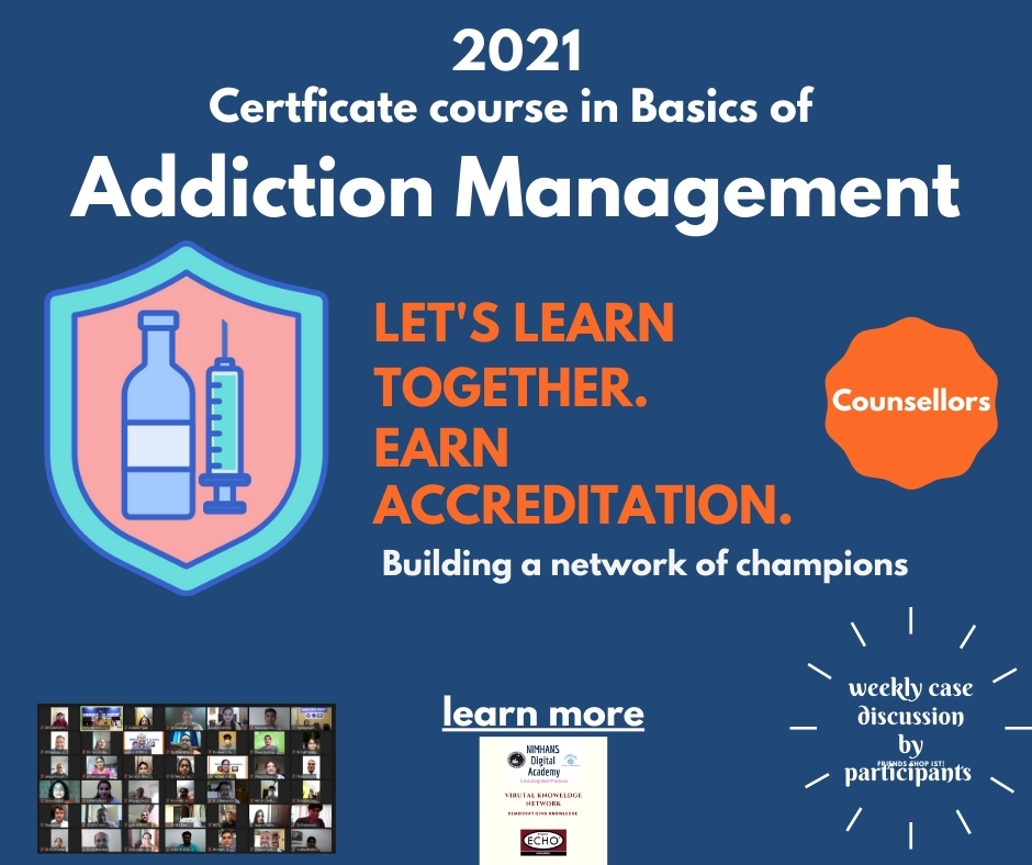 Completed: Jan 21 Certificate Course in Basics of Addiction Management